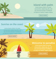palm coast rest banner horizontal set flat style vector image vector image