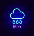 rainy neon label vector image vector image