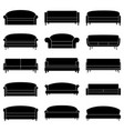 set of black sofa icons vector image vector image