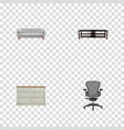 set of decoration realistic symbols with office vector image