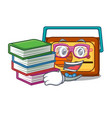 student with book radio mascot cartoon style vector image