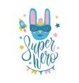 super hero bunny cute baby print sweet rabbi vector image