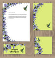 templates with floral decoration and colibri bird vector image