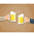 two businessmen toasting glasses beer vector image