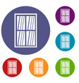 white latticed rectangle window icons set vector image vector image