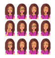 woman with chestnut hair and emotions user icons vector image