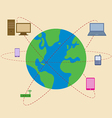 World is surrounded by mobile technology vector image vector image