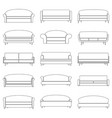 set of contour sofa icons vector image