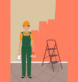 woman painter character with roller and paint can vector image
