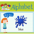 Flashcard letter B is for blue vector image