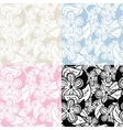 Floral Hand Drawn Seamless Pattern Set vector image