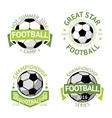 Football labels green vintage vector image