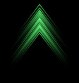 abstract green light arrow speed direction on blac vector image vector image