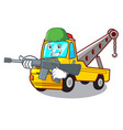army cartoon tow truck isolated on rope vector image