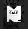 black friday sale poster with text sample and vector image