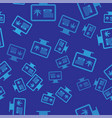 blue computer monitor and medical marijuana or vector image vector image
