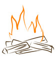 Bonfire drawing on white background