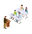 business conference isometric students or vector image vector image