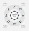 business icons set collection of leader pie bar vector image vector image