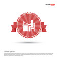 business man working - red ribbon banner vector image
