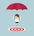 businesswoman with parachute focused on a target vector image vector image