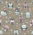 cartoon funny owls seamless pattern cute animals vector image