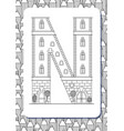 cartoon letter n drawn in the shape of house vector image