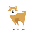 cheerful cartoon akita inu character with happy vector image vector image