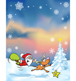 christmas background with funny santa claus vector image vector image