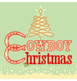 Cowboy Christmas card with text and rope tree