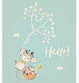 cute birthday mouse with flowers vector image vector image