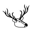 deer cartoon head in black sections silhouette vector image vector image
