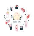 delicious food dessert collection milkshake cake vector image vector image