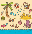 doodle beach vector image vector image