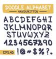 doodle letters set - hand written alphabet vector image