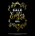 easter sale flyer with wreath golden leaves vector image
