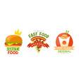 fast food logo original design set burger pizza vector image vector image