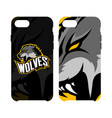furious wolf sport logo concept smart phone vector image vector image
