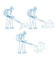 gardener leaf blower drawing vector image vector image