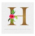 golden letter h watercolor floral background