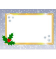 Golden shiny christmas card border with holly leaf