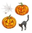 Halloween scary pumpkin lantern sketch icons vector image vector image