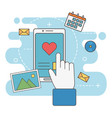 hand touch smartphone love message network social vector image