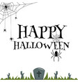 happy halloween spider web zombie hand in grave ve vector image