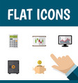icon flat incoming set of chart piggy bank graph vector image vector image