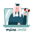 judge in a wig on laptop screen computer online vector image