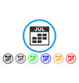 july calendar grid rounded icon vector image vector image
