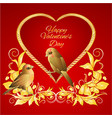 little golden birds and heart golden leaves vector image