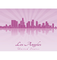 Los Angeles skyline in purple radiant orchid vector image vector image
