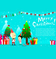 merry christmas background with boy and oldmanhap vector image